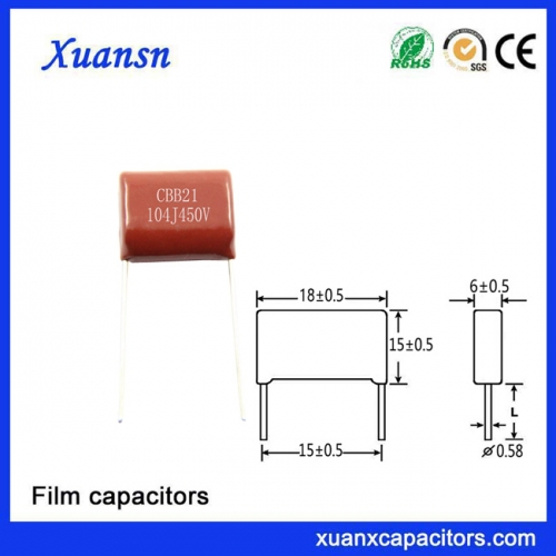 104J450V metalized film Cbb Capacitor Air Conditioner Capacitor