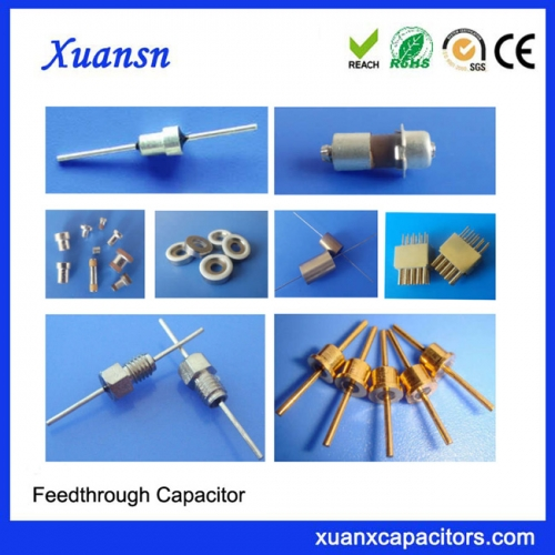 EMI filter capacitor feedthrough