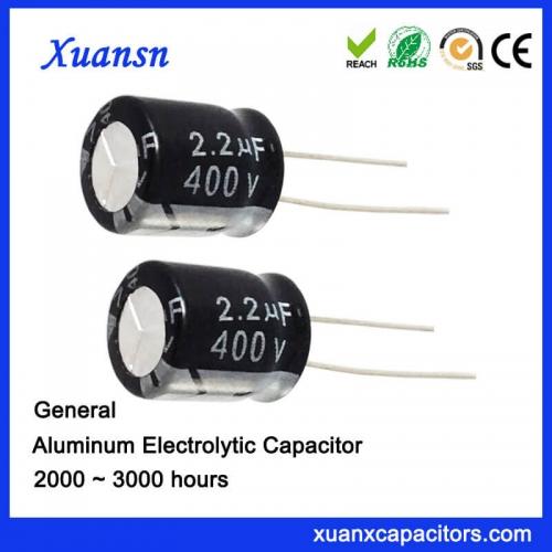 Straight plug aluminum electrolytic capacitor 2.2uf400V