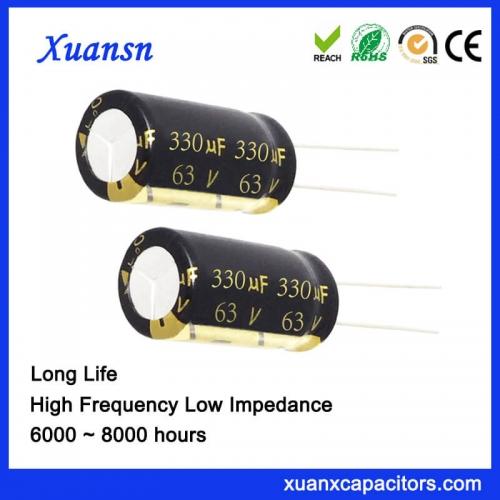 High quality long life capacitor 330UF 63V