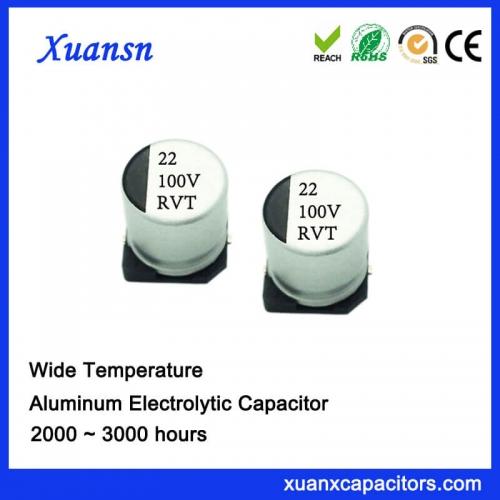 Wide temperature chip aluminum electrolytic capacitor 22uf100v