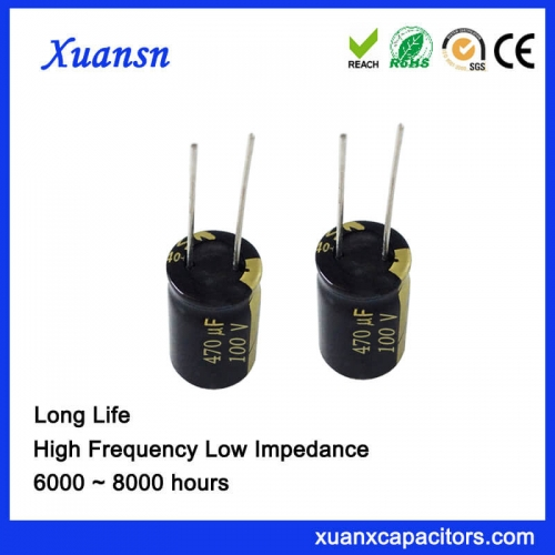 High frequency low resistance long life 470uf100V