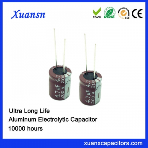4.7UF 200V 10000hours Electrolytic Capacitor for